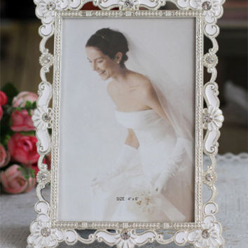 New Fashion Crystal White Wedding Home Decor Photo Frame Picture Frame Alloy Metal 4'' *6'' X0546