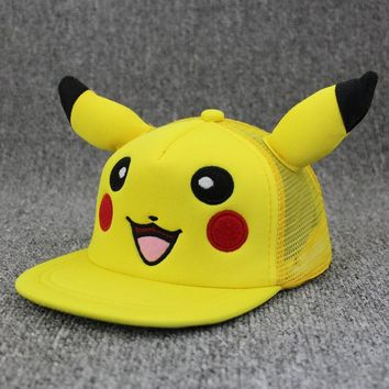 Trendy Winter Jacket Cute Pikachu Snapback Animation Cartoon Comic Lovely Pokemon GO Pocket Monster Flat Snapback Caps Hat For Cosplay Child Cap AT_92_12