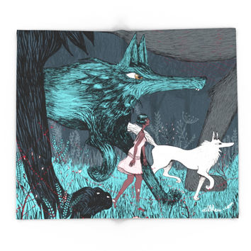 Society6 Woman Wolf Wandering Blanket