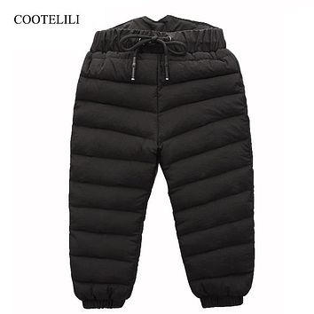 COOTELILI  80% Down Winter Pants For Baby Boys Girls High Waist Warm Children Clothes Waterproof Kids Boy Trousers Pants Long