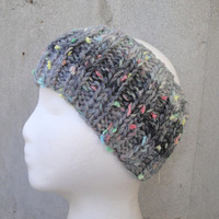 Gray Ombre Ear Warmer Headband, Hand Knit, Teen Girls & Women, Wool Blend