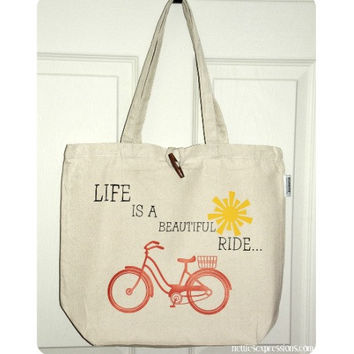 Customized 100% Recycled Cotton Tote Bag with Heat Transfer Vinyl - Life is a Beautiful Ride - book bag/shopping bag/grocery bag