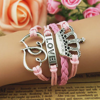 Crown love cortex wax rope double love pink bracelets