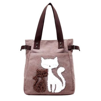 Cute Cat Casual Women Tote Bags 8 Colors Canvas Shoulder Bag For Women Brief Design Rivet Ladies Handbag