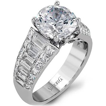 "Simon G. Large Center ""Simon Set"" Baguette Diamond Engagement Ring"