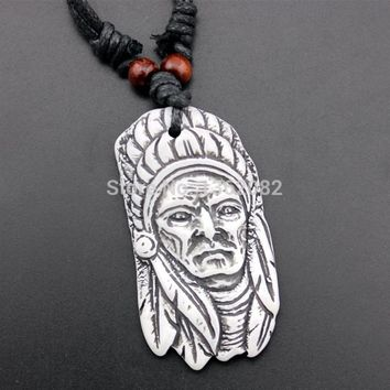 Fashion Imitation Bone Carving Tribal Head Indian Chief Pendant Necklace Gift YN434