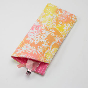Sunglasses Case, Eyeglasses Case, Glasses Case in Beautiful Coral Floral Fabric