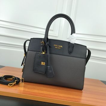 HCXX 19June 743 Prada Simple Casual Handbag 32-24.5-14.5 black gray