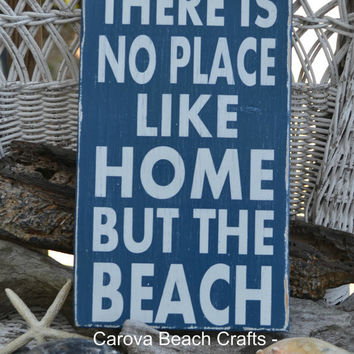No Place Like Home But The Beach, Wedgewood Blue, Coastal, Beach Decor, Nautical, Sign, Wood, Hand Painted, Distressed, Reclaimed Wood