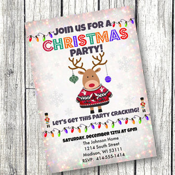 Christmas Party Invitation Holiday Invite Prints or Digital File vintage snowflake with reindeer 5x7 printed or printable invitation