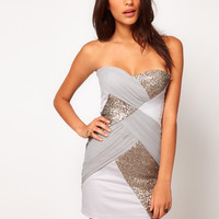 Elise Ryan Mesh Sequin Panelled Bandeau Dress