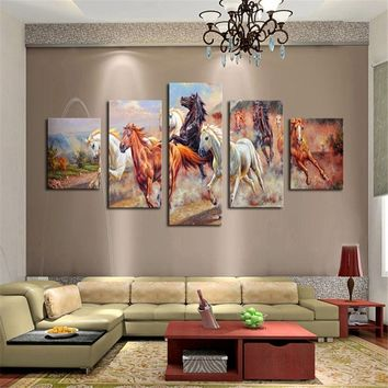 5pcs Art Horses Wall Painting Canvas Art Print Picture Unframed Home Room Decor