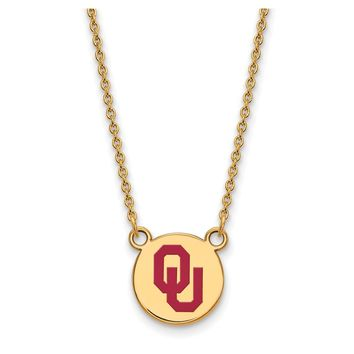 NCAA 14k Gold Plated Silver Oklahoma Sm Enamel Disc Pendant Necklace