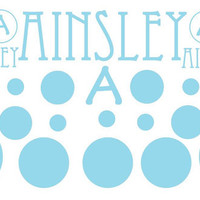 Name and Monogram Stickers with Polka Dots