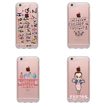 Stranger Things Christmas Lights Soft silicone TPU Phone Cases For iphone 7 7Plus 6S 6Plus 5 5S SE 8 8Plus X Cover