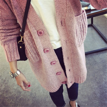 Long Cardigan Women 2015 Fashion New Womens Warm Sweaters For Winter Thick Single Breasted V Neck Pocket Coat Outwear 3 Colors = 1946063044
