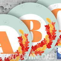 Fall Banner Letter, Alphabet A-Z, Numbers 0-1, Orange Letters, Blue Circles, Fall Leaves Wreath, printable party decor, download