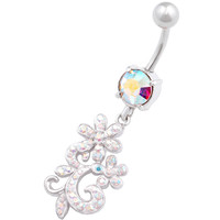 Glittery Flower Dangle Aurora Borealis Crystal Belly Button Ring For Girls [Gauge: 14G - 1.6mm / Length: 10mm] 316L Surgical Steel & Crystal