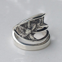 Vintage Sterling Palm Tree Spoon Ring