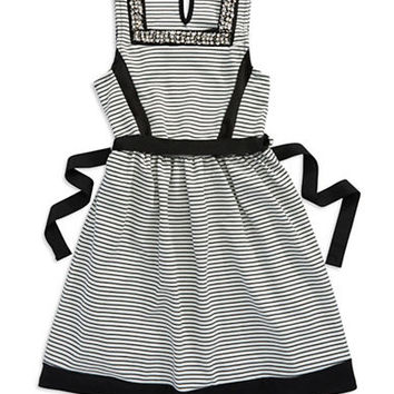 Sophia + Zeke Girls 7-16 Rhinestone Accented Striped Dress