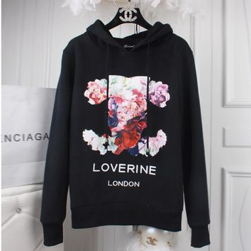 Chanel Fashion flower print big size loose type pullovers thick sweater Black