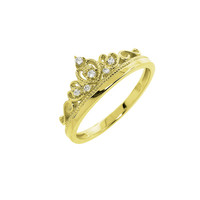 Gold Pave Mary Crown Ring