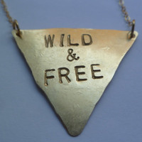 Stamped triangle necklace Wild and Free or by littlepancakes