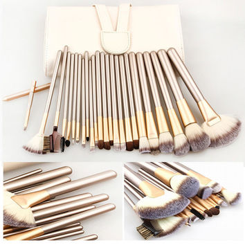 PeleusTech 24pcs Cosmetics Brushes Set Synthetic Kabuki Professional Brush Kit Cream Makeup Brushes Gift