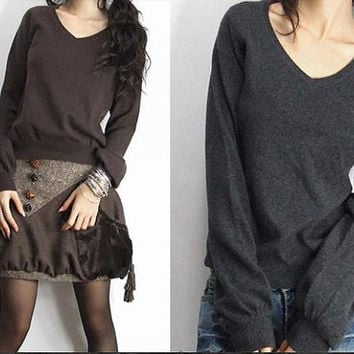 coffee/grey/red sweater V collar with long sleeve sweater wool women sweater Autumn Spring