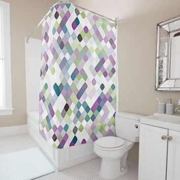 Chic Purple Lime Green Retro Round Squares Pattern Shower Curtain