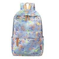 MapleClan Women's Watercolor Graffiti Casual Canvas Backpack Rucksack Travel Bag
