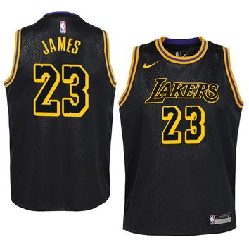 LeBron James Jersey 2018-19 Men's Los Angeles Lakers #23 Nike Swingman-Icon Edition Color Black