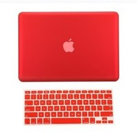 """TopCase® 2 in 1 Ultra Slim Light Weight Rubberized Hard Case Cover and Keyboard Cover for Macbook Pro 13-inch 13"""" (A1278/with or without Thunderbolt) with TopCase® Mouse Pad (Macbook Pro 13"""" A1278, Red)"""