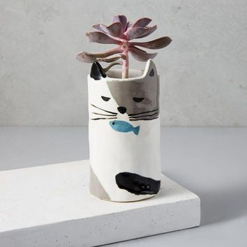 Dreamship Ceramic Cat Planter