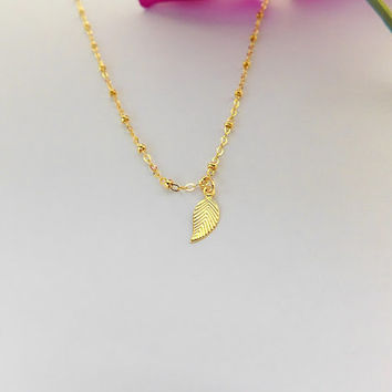 Plain Gold Leaf - Gold Leaf Necklace - Gold Satellite Chain - Gold Satellite Necklace