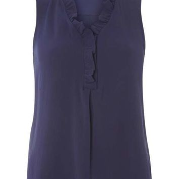 Navy Bubble Frill Top - View All New In - New In