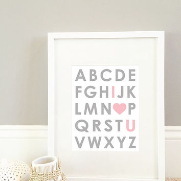 I Love You Pink Alphabet Wall Art, wall art print, 8x10 Print