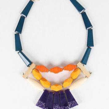 Colorful Tile and Bead Statement Necklace
