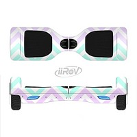 The Light Teal & Purple Sharp Chevron Full-Body Skin Set for the Smart Drifting SuperCharged iiRov HoverBoard
