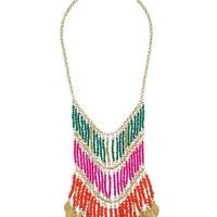 Layered Seedbead Necklace With Fringe - Pink