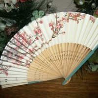Paper and Bamboo Hand Fan with Cherry Blossoms Design Japanese Geisha Accessory from A Vintage Addiction