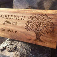 Personalised Oak House Sign, Carved Wooden Sign, Custom Engraved Outdoor Wooden Name Plaque, Oak Engraved Sign, Natural Wood Engraved Plaque