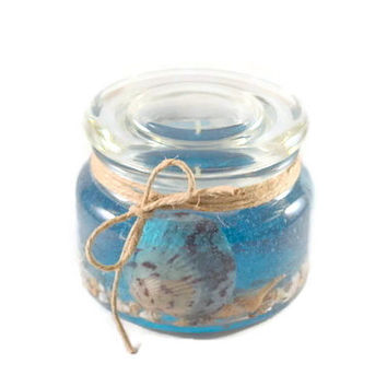 Blue Gel Wax Candle in Glass Jar with Lid, Scented or Unscented Candles, Beach Decor