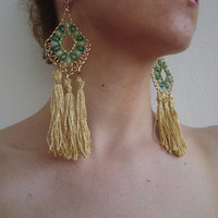 Very big earrings with long tassel, Gold earring, Gold green jewelry, Large earrings, Festival earrings, Haand made earrings, Unique gift