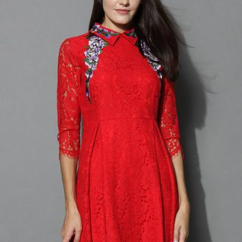 Crape Myrtle Full Lace Dress in Red