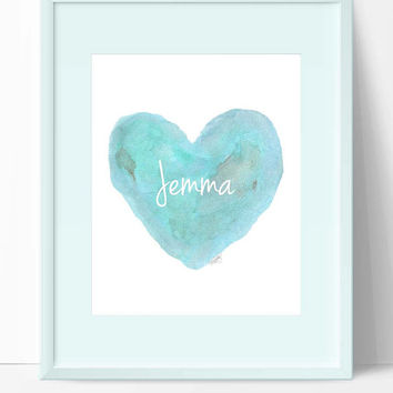 Beach Nursery Decor, Aqua Nursery Art, Turquoise Nursery Art, Aqua Watercolor Heart Print 8x10, Beach House Art, Beach Cottage Nursery