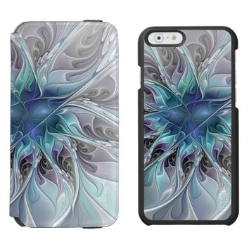 Flourish Abstract Modern Fractal Flower With Blue iPhone 6/6s Wallet Case