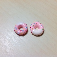 2 pcs Strawberry Donuts with Vanilla Frosting & Sprinkles Resin Cabochon Flatbacks 12 x 12 mm