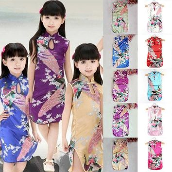 Girl Peacock Cheongsam Chinese Qipao Floral Dress