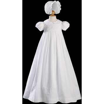 Floral Embroidered Cotton Long Heirloom Christening Gown Baby Girls 0-12M